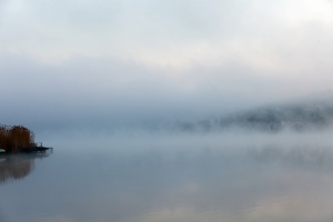 Portrait of a quiet foggy lake