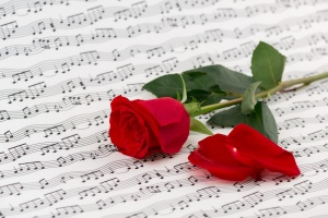 roses and music sheets