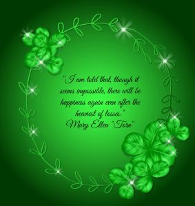 St. Patrick day card. Oval hand - drawn frame decorated with three and four leaf clovers on green gradient background.