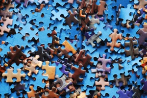random pieces of jigsaw puzzle
